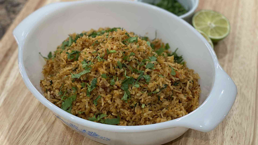 homemade spanish rice in a glass bowl