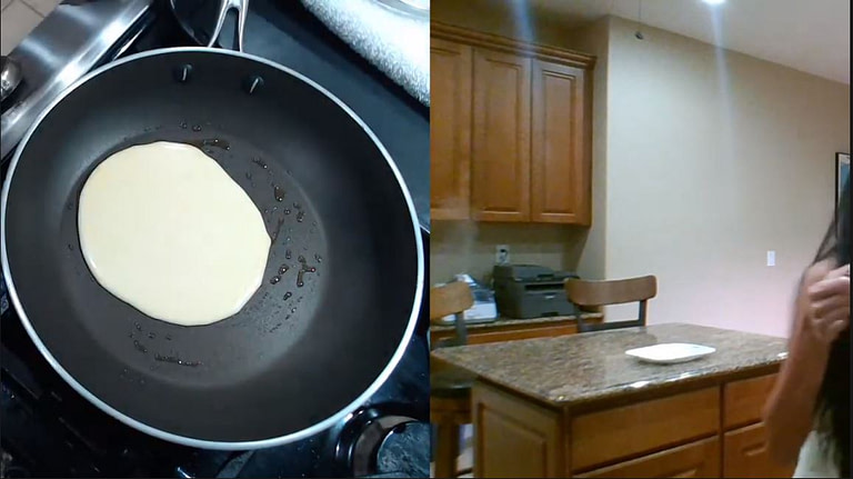 cooking filipino hotcakes in a pan on stove