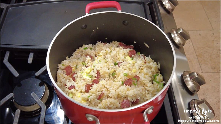 Lap Xuong Fried Rice in a pot on the stove top