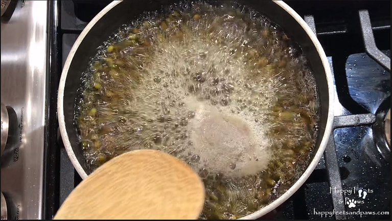mung beans boiling in a pot