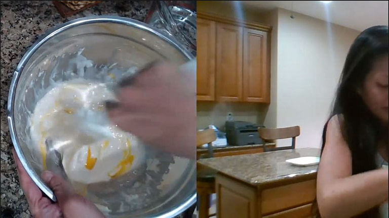 mixing batter in a bowl for Filipino hotcakes recipe
