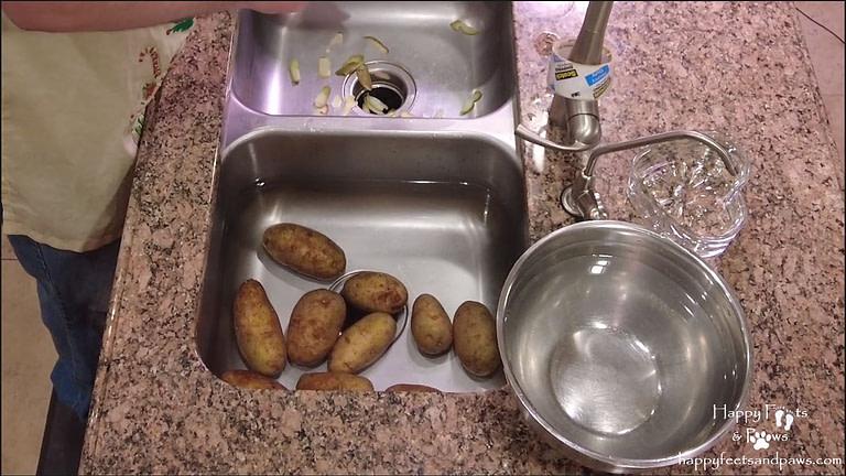 peeling mashed potatoes