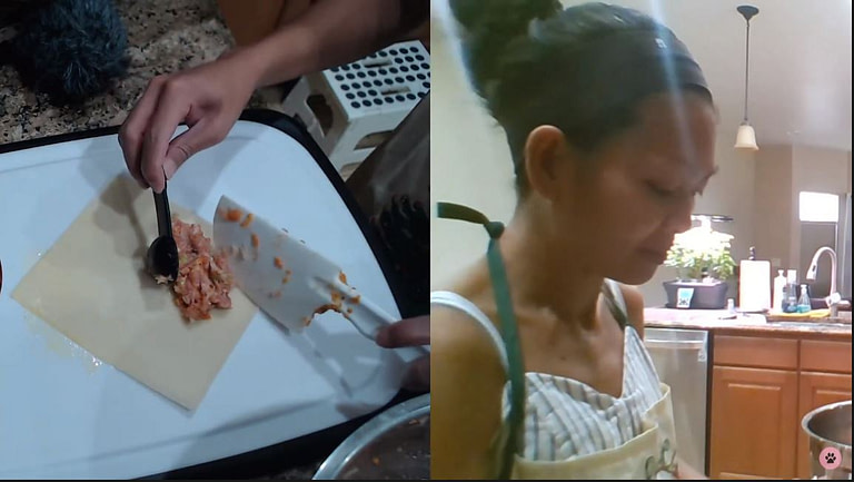 filipino lady putting meat in lumpia wrapper