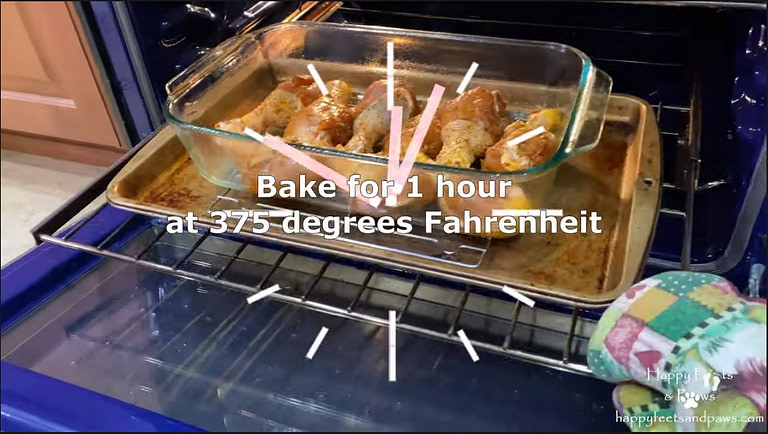chicken drumsticks being placed in the oven