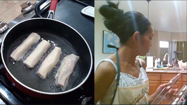 filipino lady cooking lumpia