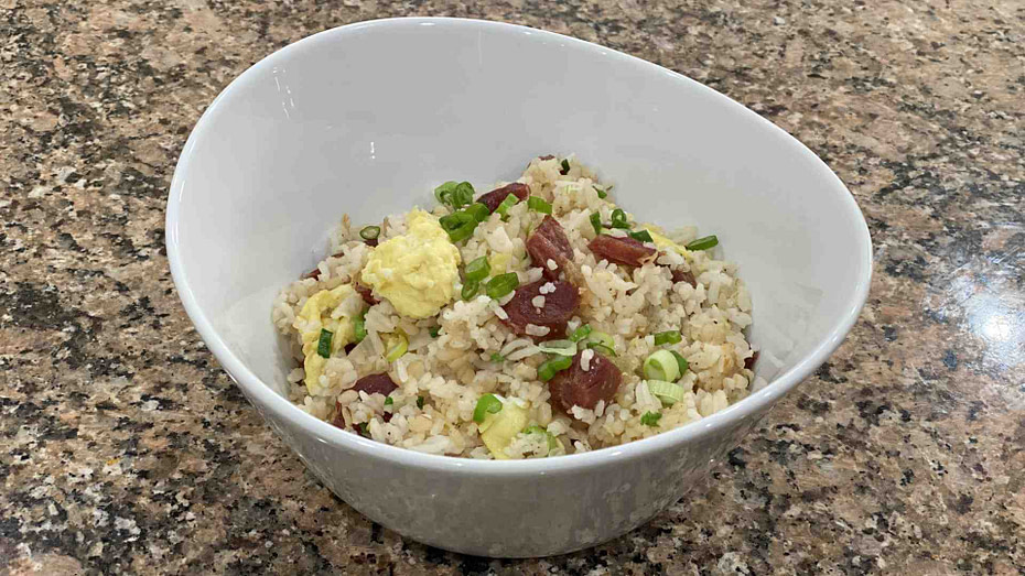 Lap Xuong Fried Rice in a bowl